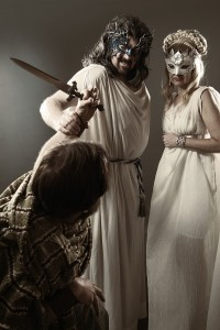 David Arnold as Zeus and JJ Rodgers as Hera in Blackbird Theater's 2015 production of MYTH.