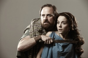 Brad Brown as Kakisto and Corinne Bupp as Acacia in Blackbird Theater's 2015 production of MYTH.